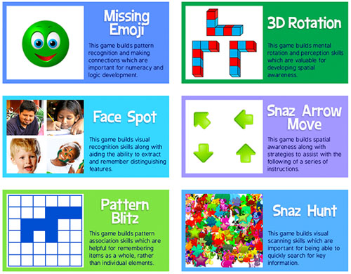 Skoolbo Brain Game Activities - including logic, memory, mental rotation, spacial awareness and visual scanning games